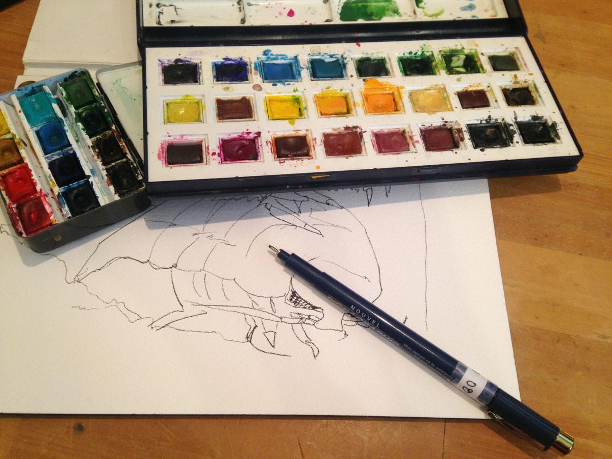 ペンと水彩絵具